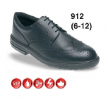 Black Leather Brogue Safety Shoe (Sizes 6 - 12)